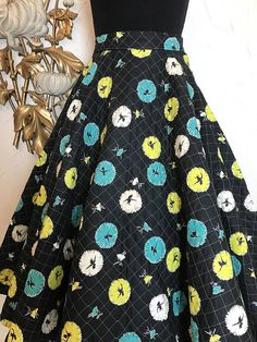 Vintage 90s Sewn Turquoise with Colorful Print Full Circle Skirt,Mast with Flags Print Viscose Size DE 40 Skirt