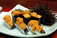 oh.my.god. this is my favorite sushi combination in all the world...squid and sea urchin...ika and uni...yin and yang!