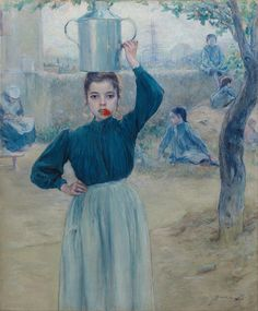 https://flic.kr/p/tAr9VK | Adolfo Guiard - The Little Village Girl with Red Carnation [1903] | Adolfo Guiard (Bilbao, April 10, 1860 - March 8, 1916) was a Spanish painter. In his eagerness to paint outdoors, close to nature, he settled in Baquio, a small town very close to Bilbao. Painting outdoors, the landscape became secondary in his work as he gave special importance to the human figures who lived and worked in the fields. Its range of green, so intense in the surrounding countryside…