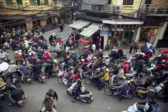 Photographic Print: Busy Traffic in the Old Quarter, Hanoi, Vietnam, Indochina, Southeast Asia, Asia by Yadid Levy : 24x16in