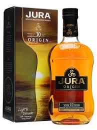 JURA 10 YEAR OLD - Deliciously delicate yet robust, slumbering for a full decade in quiet contentment, this beguiling spirit has a lingering taste of warming gentle oak, caramel, soft liquorice and roasted coffee beans. A whisky to be leisurely savoured.