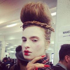 """""""Wicked innocent"""" girls @thombrowneny by @maccosmetics @Bumble and bumble."""
