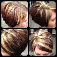 Hair Beauty - ideas hair color highlights chunky makeup for 2019 hair makeup hairhighlights Blonde Highlights On Dark Hair Short, Hair Highlights And Lowlights, Chunky Highlights, Short Brown Hair, Short Hair With Layers, Hair Color Highlights, Layered Hair, Short Hair Cuts, Short Hair Styles