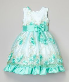 Another great find on #zulily! Turquoise & White Floral Dress - Infant, Toddler & Girls #zulilyfinds