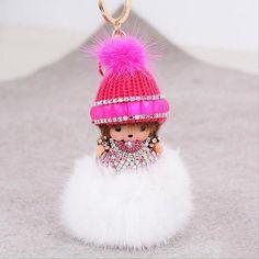 6 Colors Rhinestone Monchichi Fur Pompon Keychain monchichi sleutelhanger  Pom Pom strass Doll Women Bag Charm porte clef a33288c5489a9