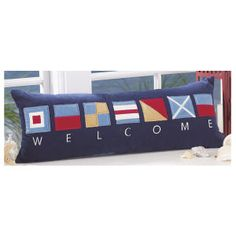Welcome Nautical Flags Pillow. Nautical Quilt, Nautical Flags, Nautical Pillows, Nautical Theme, Coastal Cottage, Coastal Decor, Welcome To My House, Lake Signs, House Deck