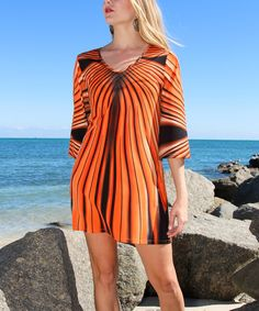 Another great find on #zulily! La Moda Clothing Orange & Black Swirl Shift Dress - Women by La Moda Clothing #zulilyfinds