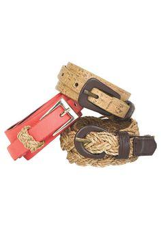 Coral belt with silver buckle- Tan regular belt with a brown buckle- Tan braided belt with brown buckle.