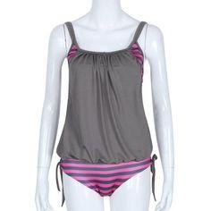 Hot Sexy Women Swimwear Swimsuit Summer Striped Splicing Strap Bikini Bathing TWO-Piece Beachwear Backless Jumpsuit Dec28PSTC
