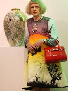 Grayson Perry and one of his amazing vases