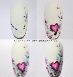 """Ногти / Пошаговые МК / Маникюр on Instagram: """"Если хочешь тоже к нам на страницу , то оставляй смайлик под постом👇 . @estanails . Тема сердечек я думаю ещё актуальна! А в мк о том как…"""" Manicures, Nails, Valentines Day, Nail Designs, Aqua, Nail Polish, Nail Art, Flower, Color"""