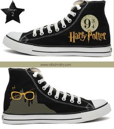 Harry Potter Handpainted Converse Shoes 😍❤️ love them! Converse All Star, Cool Converse, Converse Sneakers, Converse Chuck Taylor, High Top Sneakers, Converse Shoes High Top, Custom Converse Shoes, Harry Potter Shoes, Harry Potter Outfits
