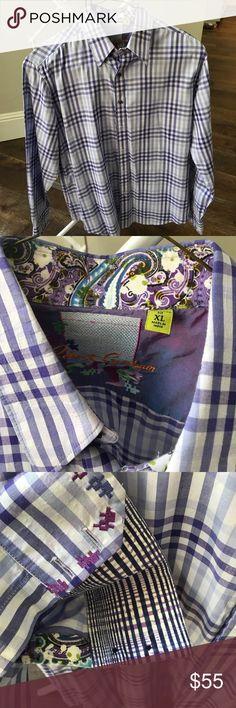 Robert Graham men's dress shirt Perfect for any season this purple gingham dress shirt will take your date's breath away. Robert Graham Shirts Dress Shirts