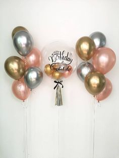 Ultimate Chrome & Rose Gold Balloon Bouquet - Lorii My World Balloon Arch Diy, Balloon Display, Balloon Bouquet, Balloon Garland, Balloon Decorations, Simple Birthday Decorations, Graduation Decorations, Personalized Balloons, Custom Balloons