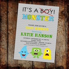 Baby boy shower invitation its a monster digital by katiedidesigns, $13.00