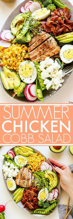 This Summer Chicken Cobb Salad is loaded with veggies and topped with grilled chicken, corn, bacon, avocado, hard boiled egg and goat cheese. | platingsandpairings.com