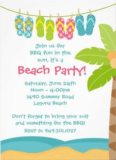Cute Beach Party Invitations. A breeze to customize! #beach_party_invitations