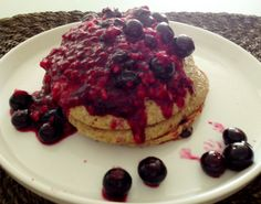 Chocolate Chip Oatmeal Pancake with Homemade Berry Mush