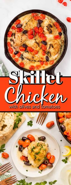 This amazing Skillet Chicken with Olives and Tomatoes is fast and easy to make and will be on the table in 30 minutes. Don't forget the crusty bread for dunking. Healthy Chicken Recipes, Healthy Dinner Recipes, Beef Recipes, Skillet Recipes, Chicken And Biscuits, Chicken And Dumplings, Simple Green Salad, Chicken With Olives, Skillet Chicken