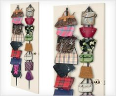 Store your #handbags with #purse door holder - hanging, visible and easily accessible. Purse Rack, Purse Storage, Handbag Organization, Diy Organization, Hanging Purses, Door Holders, Wall Mount Rack, Door Wall, Dollar Stores