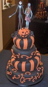 Halloween wedding cake! With the Nightmare Before Christmas topper! Oh, Hillary, this is for you!