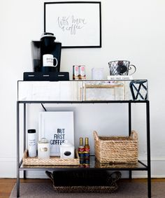 You Would Never Guess This Apartment Is Mostly Ikea - The Everygirl || coffee bar at home