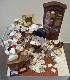 Barbie Trashes Her Dreamhouse -- these are miniatures [what if Barbie became a hoarder] by artist Carrie M. Becker