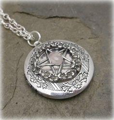 Rose quartz   Rose pentacle spell locket by SpellboundOriginalz