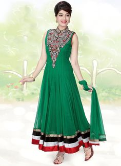 Captivating Green Ankle Length Anarkali Suit