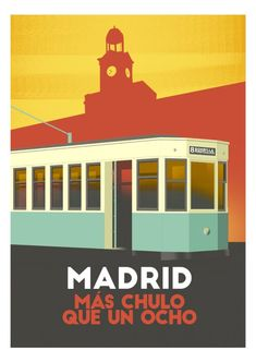 Foto Madrid, Vintage Travel Posters, Us Travel, Illustration Art, Around The Worlds, Retro, Wallpaper, Drawings, Projects