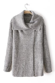 Grey Cross Lapel Sweater