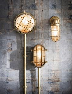 The devonport range of outdoor lights are all crafted in raw cast brass. Two bulk heads, a round and oval shape along with the down light. All come with cages that encase the glass shades. Click the image to shop the complete range Nautical Lighting, Outdoor Wall Lighting, Exterior Lighting, Outdoor Walls, Industrial Wall Lights, Vintage Wall Lights, Vintage Lighting, Glass Design, Design Design