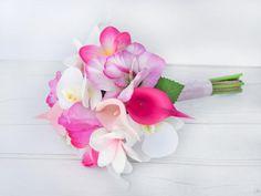 Plumeria Bouquet, Orchid Bouquet Wedding, Beach Wedding Bouquets, Pink Bouquet, Bride Bouquets, Wedding Flowers, Wedding Dress, Fake Flowers, Flowers In Hair