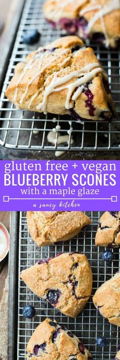 Vegan Gluten Free Blueberry Scones made with coconut oil & coconut milk in place of dairy and eggs & topped with a simple maple glaze