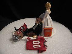 Tampa Bay Buccaneers Bucs Wedding Cake Topper Bride by finsnhorns
