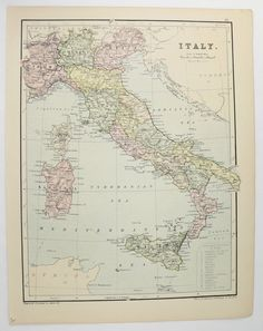 1875 Johnston Italy Map, Spain Portugal Map, Antique Map of Italy, Gift for Family, Spain Travel Map, 1st Anniversary Gift for Couple available from  OldMapsandPrints.Etsy.com #Italy #Spain #Portugal #Antique1875JohnstonMap