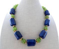 Lapis lazuli necklace blue chunky necklace green glass