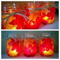 DIY Fall luminaries. Mason jars, mod podge, and leaves!