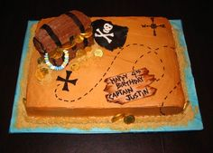 treasure chest and map - 11x15 sheet cake iced in BC. treasure chest is molded out of rice krispies treats and covered in BC. filled w/ chocolate coins and candy necklaces. happy birthday sign and pirate flag made of fondant. sand is crushed graham cracker.