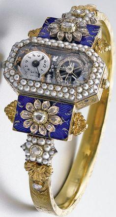 Bracelet Montre - Or, Email, Perles et Diamants - Vers 1830