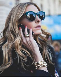 Olivia Palermo: Sunglasses – DIOR 'SIDERAL 1' METALLIC RIM ACETATE CAT EYE SUNGLASSES (Teal). Bracelet – Verdura