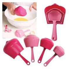 These cute, pink Cupcake Measuring cups will be a delight to use when baking! Especially fun for little ones who want to help out in the kitchen. Measuring cups set includes 1 cup, 1/2 cup, 1/3 cup and 1/4 cup.