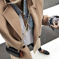 Camel coat. Jean jacket. Striped button down. Leather loafers.