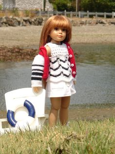 """Hand-knitted tunic and jacket designed to fit 18"""" Kidz N' Cats dolls by Debonair Designs"""
