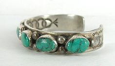 Authentic Native American vintage Sterling Silver 6-Stone Turquoise bracelet by…
