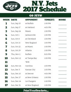 2017 N.Y. Jets Football Schedule