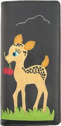 Baby Deer Applique Red Wallet w/ Cherries & Mushrooms