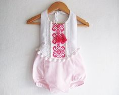 Baby Girl Boho Romper/ Boho Chic Romper/ Baby Clothes/ First Birthday/ Photo Props/ Size: mths, Cool Baby Clothes, Pink Clothes, Boho Romper, Baby Girl Birthday, Knitted Romper, Baby Girl Romper, Pink Outfits, Trendy Baby, Pink Girl