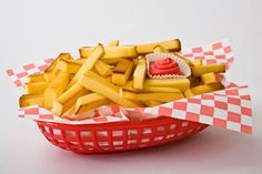 """French FRies"" made out of pound cake. Ketchup is red frosting."