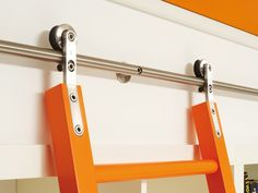 Hardware and Wooden Ladder frames for the library! [ Barndoorhardware.com ] #library #hardware #slidingdoor